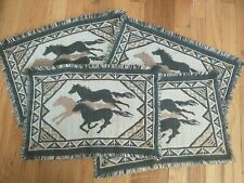 New listing 4 Western Style Woven Tapestry Horse Print Placemats