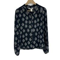 Diane von Furstenberg DVF Blouse Size 4 Black Print New Gyls Silk Button Top