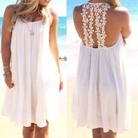 Women's Lace Chiffon Swimwear Bikini Cover Up Boho Summer Beach Mini Dress