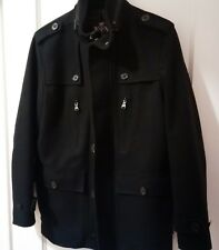 Express Men's Wool Coat - black - size small - perfect for the Fall - has hood