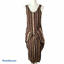 Vintage Contempo Casuals Tribal Midi Dress Size M Rayon brown black white Japan
