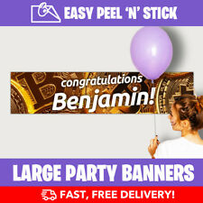 Bitcoin Personalised Birthday Party Banner (110cm x 25cm) - Low Price!