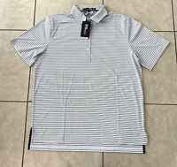 RLX Ralph Lauren Sports Golf Grey Polo Striped Shirt UV Protection Men's Large