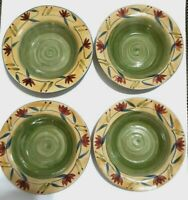 Pier 1 Elizabeth Soup Pasta Bowls Hand Painted Swirl Green/Yellow ~ Set of 4