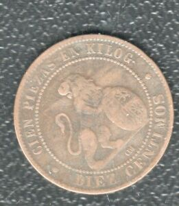 SPAIN 10 CENRIMOS 1870