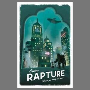 Rapture (Bioshock) Travel Poster - Physical Print Wall Hanging Artwork Cool Gift
