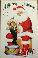 Santa Claus w/Doll & Toys 1910 Embossed Christmas Postcard