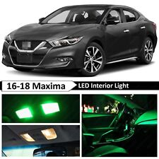 11x Green Interior License Plate LED Light Package Kit Fit 2018 Nissan Maxima