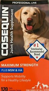 COSEQUIN Plus MSM & HA For Dogs 120 Tasty Chewable Tablets Exp 06 / 2023