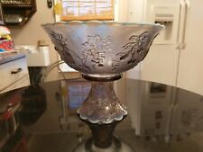 Uber Rare Antique  Lilac Opalescent Punch Bowl on Base