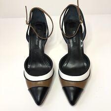 White House Black Market Size 7.5M Ankle Strap Pump Heels Black White Brown