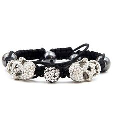 Hand Knit Acrylic Diamond Metal Skull Obsidian Gemstone Beads Bracelet