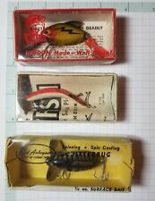 Lot of 3 Vintage Antique Fishing Lures In Box Nice 50s 60s Heddon Helin Arbogast