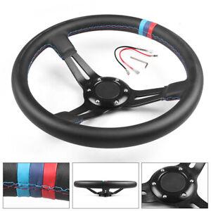 350mm 14inch Deep Dish 6 Bolt Universal Racing Steering Wheel Microfiber Leather