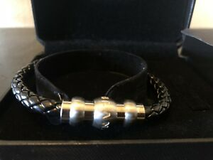 MontBlanc Silver and Black leather woven with steel magnetic Mens bracelet