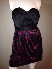 Elegant Elle Strapless Floral Wrap Look Skirt Satin Mini Dress Party Size 8