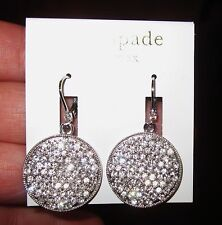 "KATE SPADE SPARKLING ""BRIGHT SPOT"" SILVER CRYSTAL CHANDELIER DROP LEVER EARRINGS"