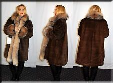 New Brown Sheared Mink Fur Coat Crystal Fox Fur Collar and Cuffs Size 3XL 20
