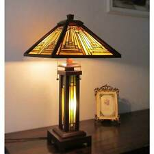 Tiffany Mission Style Table Lamp Beige Amber Stained Glass Lit Stem Wood Finish