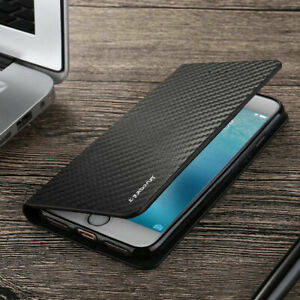 Magnetic Carbon Leather Flip Wallet Case Cover for iPhone 12 Pro 11 SE 7 8 5S 6S