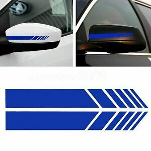 2x Glossy Blue Sporty Racing Style Rear View Mirror Vinyl Strips Decor Stickers