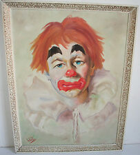 Old Clown Oil Painting signed WAITE