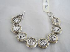 Lucky Brand silver & gold tone cutout bracelet toggle closure, NWT