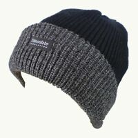 Mens BLACK & GREY Genuine Thinsulate Lined Winter Ski Beanie Hat Ribbed Chunky