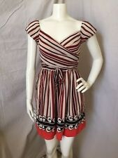 Anna Sui 100% Silk Red/Black/Ivory Striped Fit n Flare Lined Peasant Dress 5