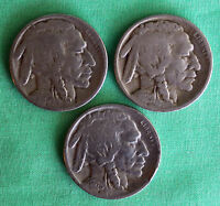 1925 PDS Buffalo Nickel 3 Coin Lot US Type Average Circulated Copper 5c 5 Cents