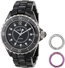 Peugeot Womens PS4900BK Ceramic Watch With Two Interchangeable Crystals Bezel