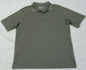 Cutter & Buck Gray Polo Shirt Cotton Poly Short Sleeve Large Mans Golf Top Solid