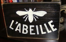 French Country Bee QUEEN L'Abeille Apiary Plaque Sign HP U-Pick Color Wooden