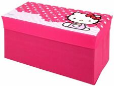 HELLO KITTY RECTANGULAR TOY STORAGE BAG BENCH DESK BOX PINK KITTY IMAGE GIFT NEW