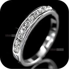18K WHITE GOLD GP MADE WITH SWAROVSKI CRYSTAL WEDDING RING US 6.25 AU M 1/2