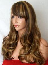 Peluca Marrón Rubio Largo Ondulado Cabeza Completa De Moda Para mujeres Damas Natural pelucas de cabello G-25