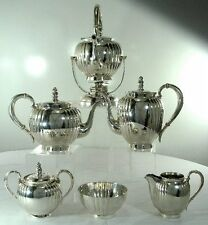 'MELON' PATTERN Sterling Silver 6-PC TEA & COFFEE SET w/KETTLE ON STAND, No Mono