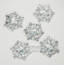#3506 * 40 mm Hologram Snowflake Appliques Embellishments X'mas Card x 20 Silver