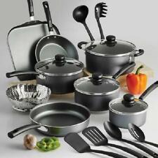 Non-Stick Cookware Set 18-Piece Dishwasher Safe Heat Shatter Resistant Lids Gray