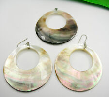 Circular Matching Pendant Earrings Large Seahhell , Genuine 925 Sterling Silver