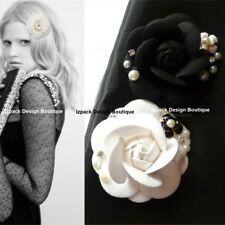 Luxury Black White Royal Rhinestone Tweed Camellia Flower Pin brooch with pearl