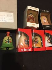 6 lot of Vintage Anri Wood Christmas Bell Ornaments 1976,1977,1978,1979,1981, 84