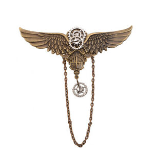 Vintage Victorian Steampunk Gear Hair Clip Bronze Wing Chain Cosutme Headwear