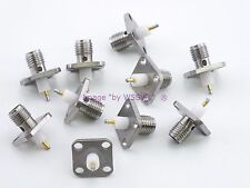 SMA 4-Hole Female Chassis Mount - Extended Insulator Solder Tail Pre-Tinned