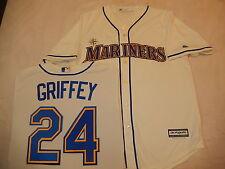 """9601 Majestic Seattle Mariners KEN GRIFFEY """"Cool Base"""" Baseball JERSEY Creme New"""