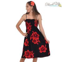 Black & Red Hibiscus Ladies Tube Dress Hawaiian