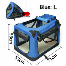 UK Dog Pet Crate Fabric Soft Carrier Tote Travel Folding Cage L Blue & Free Pad