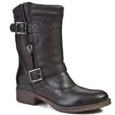 Clarks Ladies Mid-Calf Pull-on Boots MEZZE ROSE Black Leather UK 8 / 42