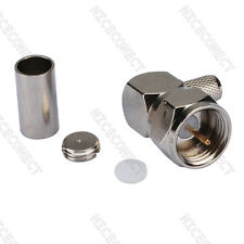 F male plug Coax Connector Right Angle Crimp LMR195 RG58 RG400 RG142 cable 75Ohm