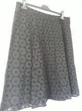 Black Floral Lace Skirt 18 Laura Ashley Goth Victorian STeampunk HIppy Cotton